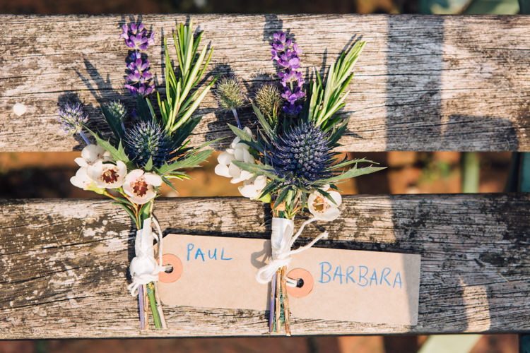 Thistle Buttonholes Groom Seaside Country Farm Pale Blue Marquee Wedding http://loveandadventures.co.uk/