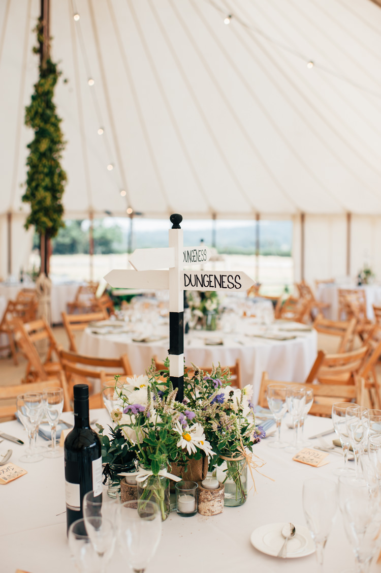 Decor Centrepiece Sign Post Travel Place Flowers Seaside Country Farm Pale Blue Marquee Wedding http://loveandadventures.co.uk/