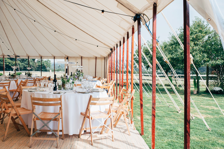 Pole Tent Festoon Lights Open Side Seaside Country Farm Pale Blue Marquee Wedding http://loveandadventures.co.uk/
