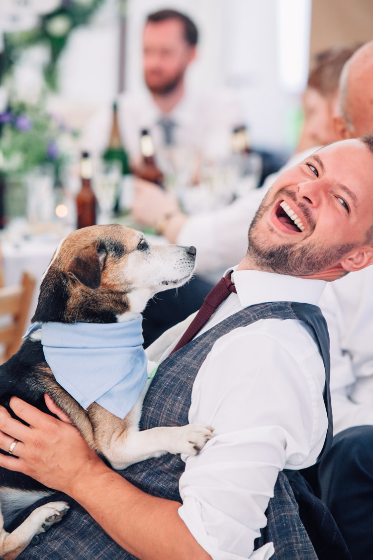 Dog Pet Seaside Country Farm Pale Blue Marquee Wedding http://loveandadventures.co.uk/