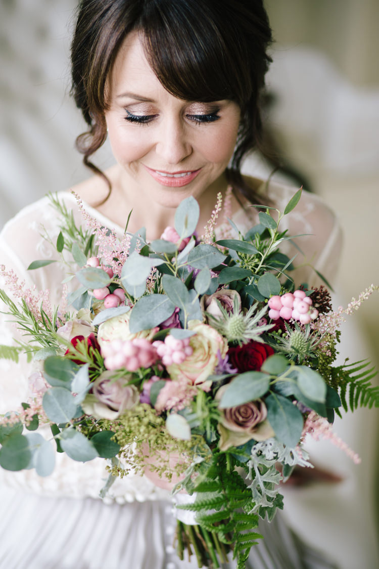 Bouquet Flowers Bride Bridal Pink Rose Berry Foliage Greenery Fern Relaxed Autumnal Child Friendly Wedding http://kathrynedwardsphotography.com/