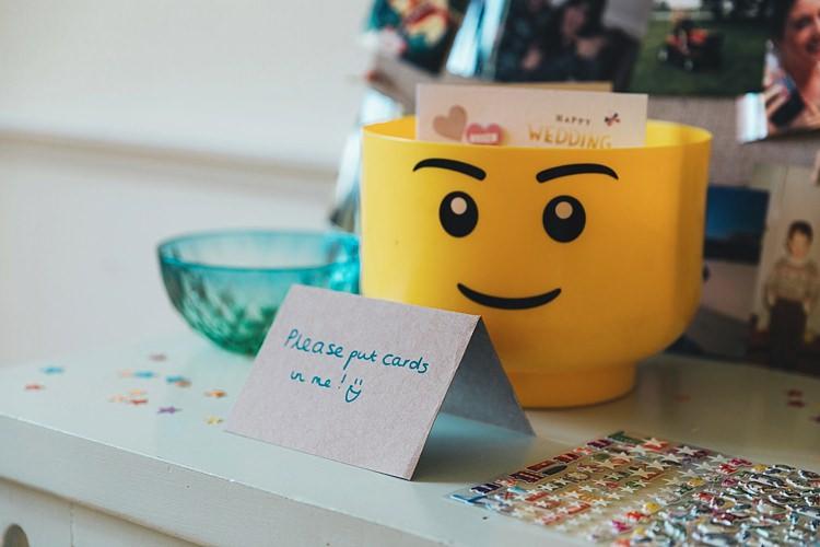 Lego Head Card Box Fun Navy Yellow Country Garden Wedding http://missgen.com/