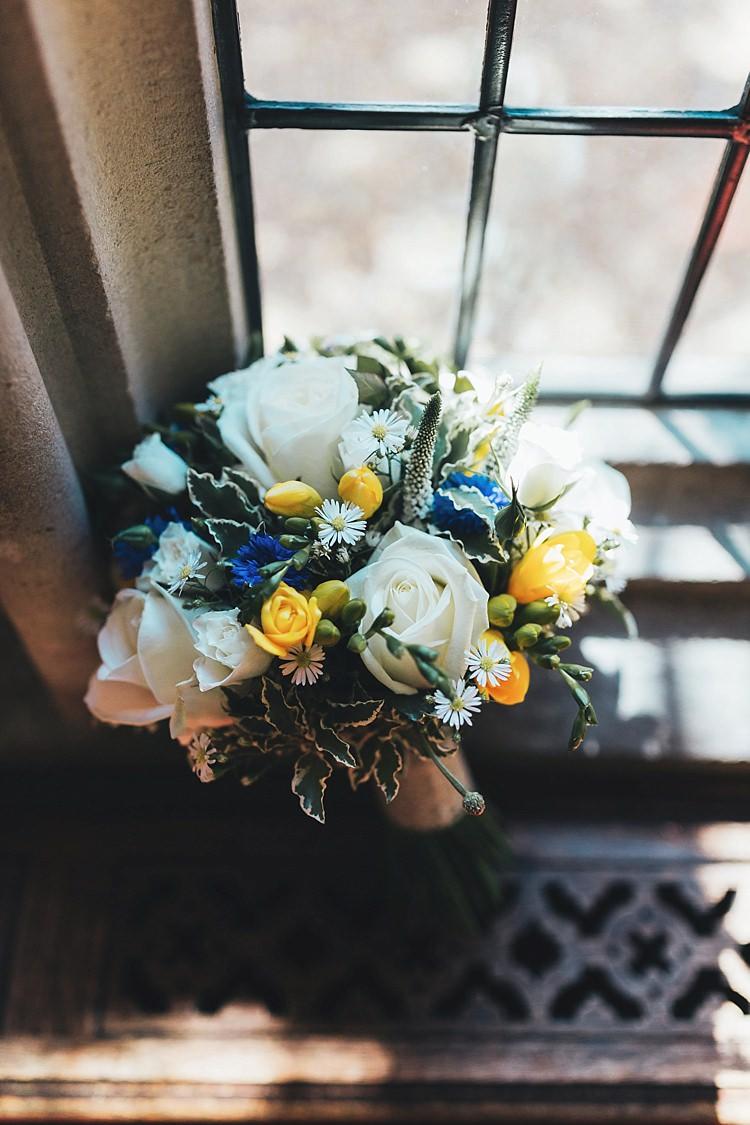 Cream Rose Bouquet Flowers Bride Bridal Summer Fun Navy Yellow Country Garden Wedding http://missgen.com/