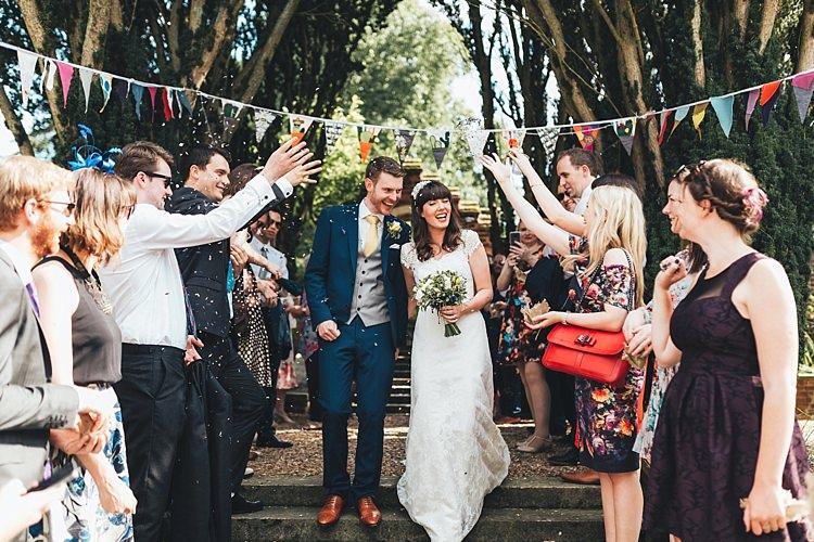Confetti Throw Fun Navy Yellow Country Garden Wedding http://missgen.com/