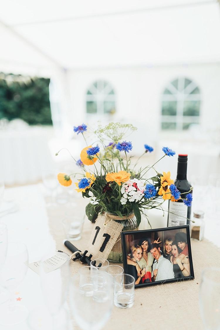 Flowers Jar Hessian Table Name Runner Cloth Decor Centrepiece Fun Navy Yellow Country Garden Wedding http://missgen.com/