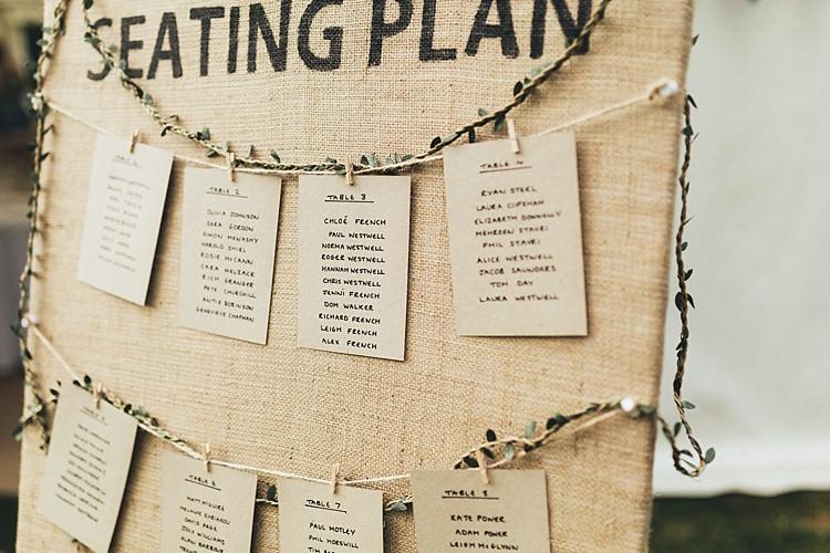 Hesian Burlap Seating Plan Chart Pegs Fun Navy Yellow Country Garden Wedding http://missgen.com/