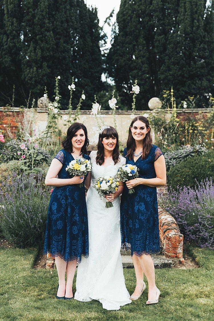 Short Lace Bridesmaid Dresses Fun Navy Yellow Country Garden Wedding http://missgen.com/