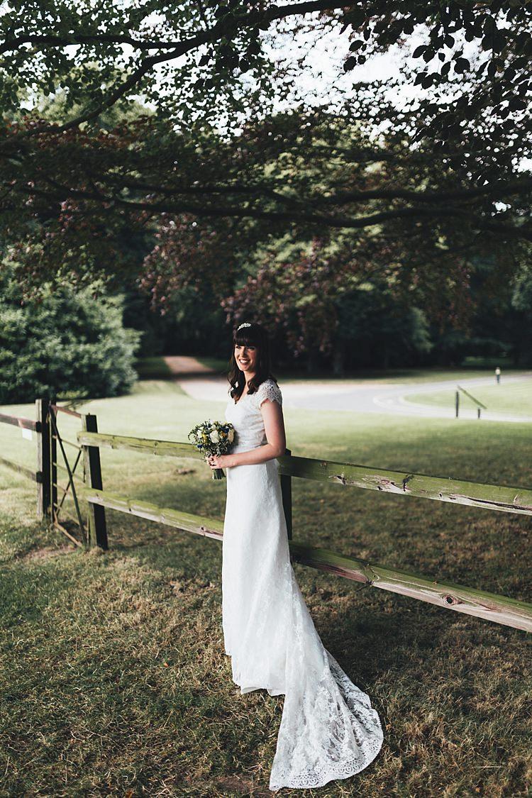 Vintage Trousseau Lace Dress Gown Bride Bridal Fun Navy Yellow Country Garden Wedding http://missgen.com/