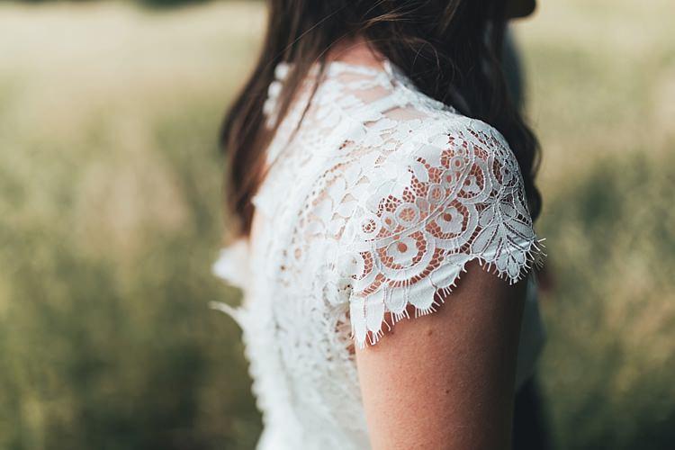 Cap Lace Sleeves Bride Bridal Dress Gown Fun Navy Yellow Country Garden Wedding http://missgen.com/