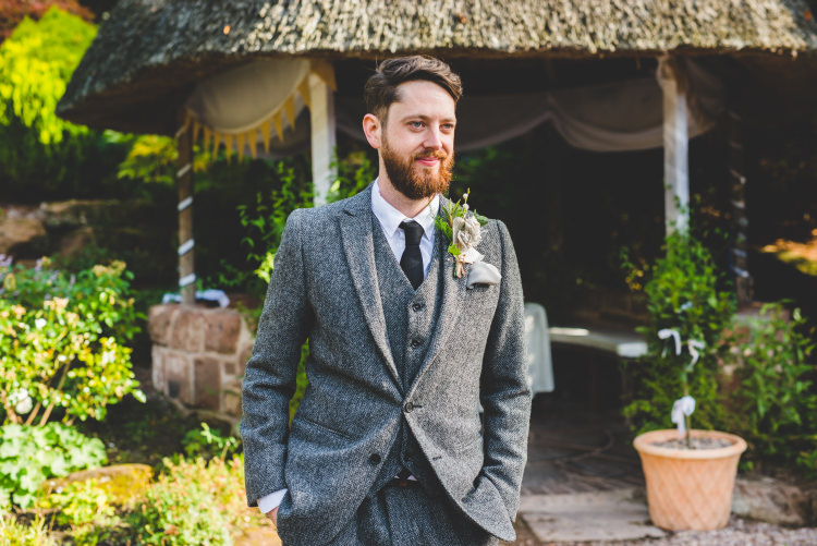 Grey Tweed Suit Groom Autumn Garden Books Wedding http://www.emmahillierphotography.com/