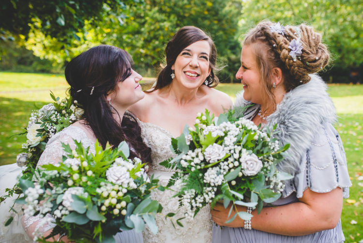 Grey Bridesmaid Dresses Foliage Greenery Bouquets Paper Autumn Garden Books Wedding http://www.emmahillierphotography.com/