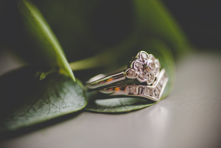 Antique Vintage Engagement Ring Band Diamond Autumn Garden Books Wedding http://www.emmahillierphotography.com/