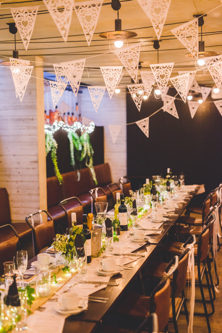 Bunting Long Tables Urban Industrial Autumn Garden Books Wedding http://www.emmahillierphotography.com/