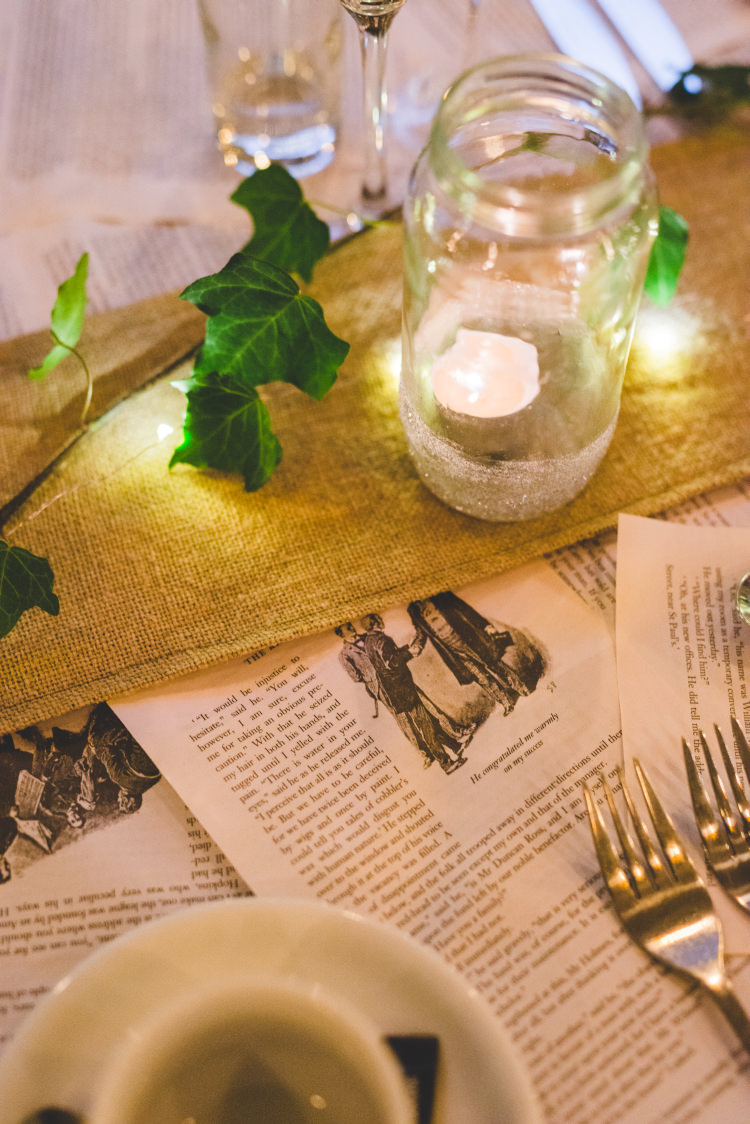 Pages Paper Table Runner Decor Autumn Garden Books Wedding http://www.emmahillierphotography.com/
