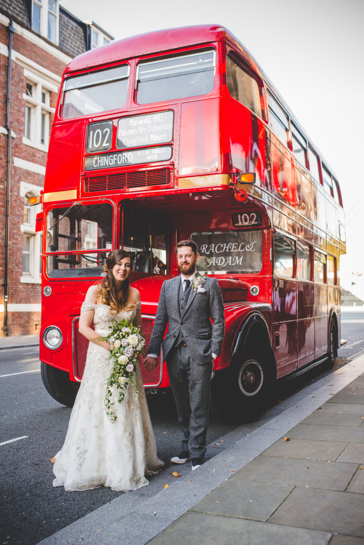 Red London Bus Transport Autumn Garden Books Wedding http://www.emmahillierphotography.com/