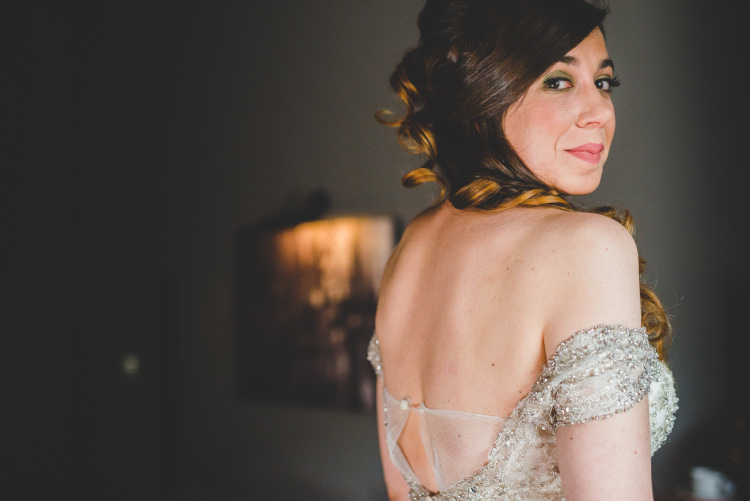 Off Shoulder Dress Bride Bridal Gown Beaded Autumn Garden Books Wedding http://www.emmahillierphotography.com/