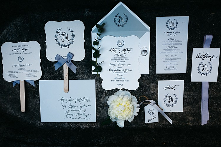 Wedding Stationery Black And White Invitation Menu Ceremony Information Fans Calligraphy Grey Ribbons Rustic Chic Greenery Wedding Ideas in Tuscany http://www.tastino0.it/