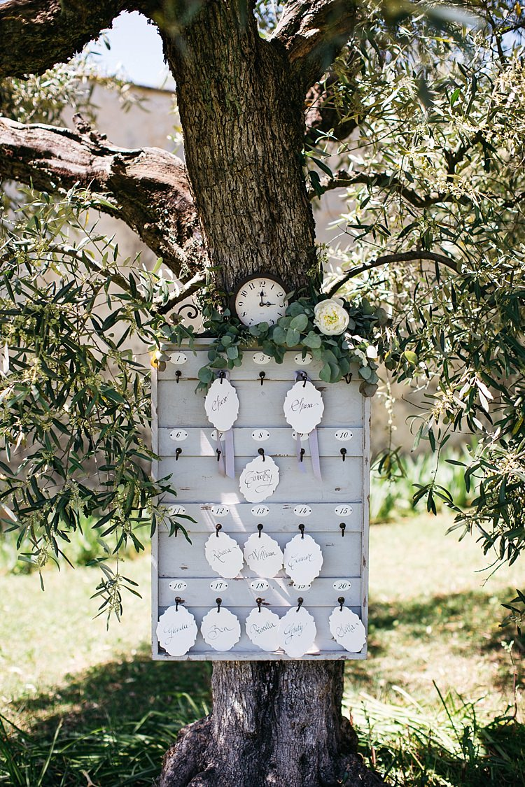 Table Seating Chart Vintage Wooden Box Key Hooks Calligraphy Tags Ribbons Clock White Rose Greenery Tree Rustic Chic Greenery Wedding Ideas in Tuscany http://www.tastino0.it/