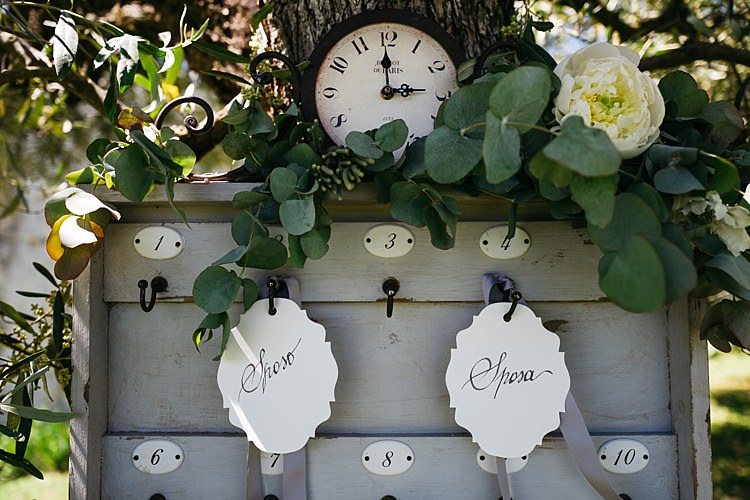 Reception Table Seating Chart Vintage Grey Wooden Box Key Hooks Calligraphy Tags Ribbons Clock White Rose Greenery Rustic Chic Greenery Wedding Ideas in Tuscany http://www.tastino0.it/