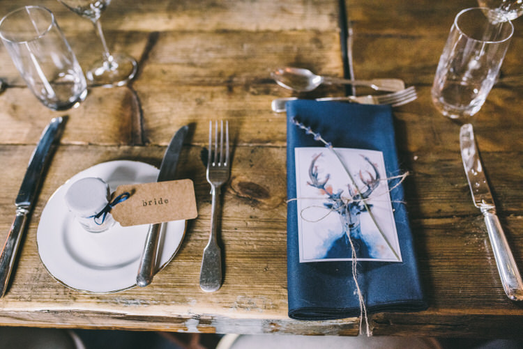 Place Setting Decor Jam Jar Luggage Tag Stationery Lavender Magical Bohemian Barn Wedding http://www.jamespowellphotography.co.uk/