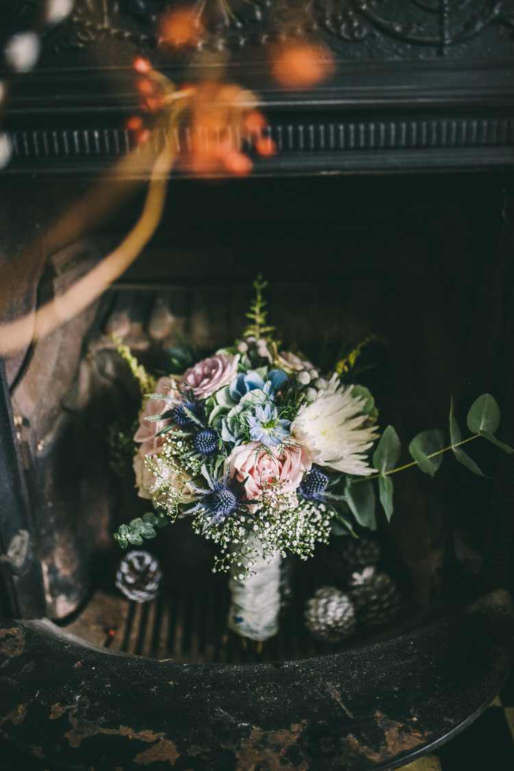Blue Blush Bouquet Thistle Rose Flowers Bride Bridal Magical Bohemian Barn Wedding http://www.jamespowellphotography.co.uk/