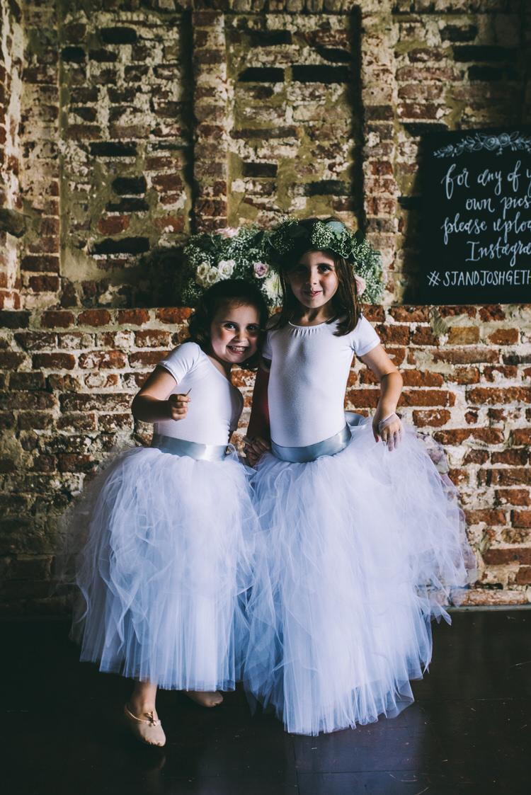 Flower Girls Tutus Ballet Shoes Crowns Magical Bohemian Barn Wedding http://www.jamespowellphotography.co.uk/