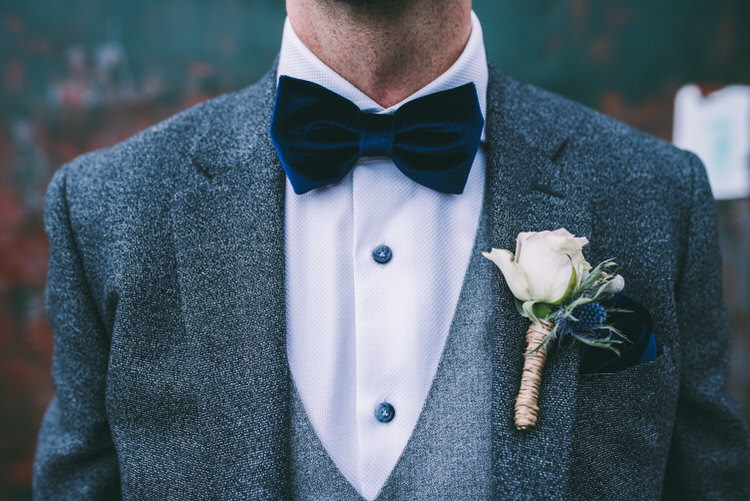 Velvet Bow Tie Groom Blue Rose Buttonhole Magical Bohemian Barn Wedding http://www.jamespowellphotography.co.uk/
