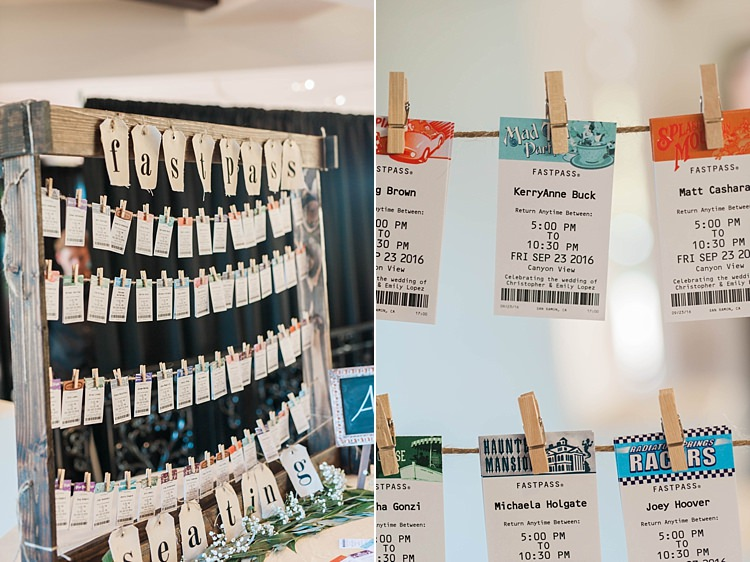 Reception Guest Seating Chart Fast Pass Tickets Disney Rides Mini Pegs Wooden Crate Frame DIY Fresh Florals Soft Blush Sage Green Wedding California http://julia-rosephotography.com/