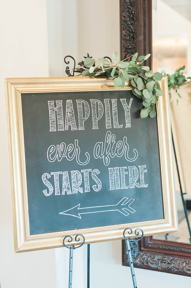 Ceremony Sign Gold Frame Blackboard Greenery Soft Blush Sage Green Wedding California http://julia-rosephotography.com/