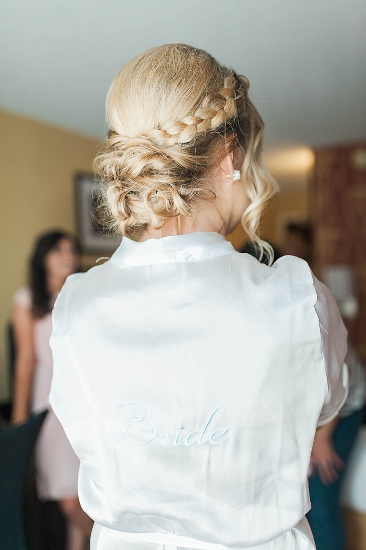 Bride Braid Low Bun Hairstyle White Satin Bride Robe Soft Blush Sage Green Wedding California http://julia-rosephotography.com/