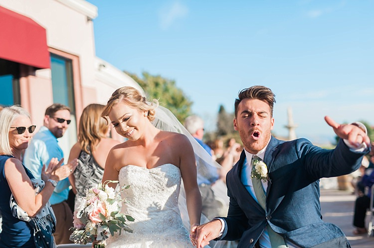 Outdoor Ceremony Just Married Bride Lace Sweetheart Strapless Bridal Gown Veil Bouquet Groom Navy Jacket Beige Pants Light Green Tie Dancing Guests Soft Blush Sage Green Wedding California http://julia-rosephotography.com/