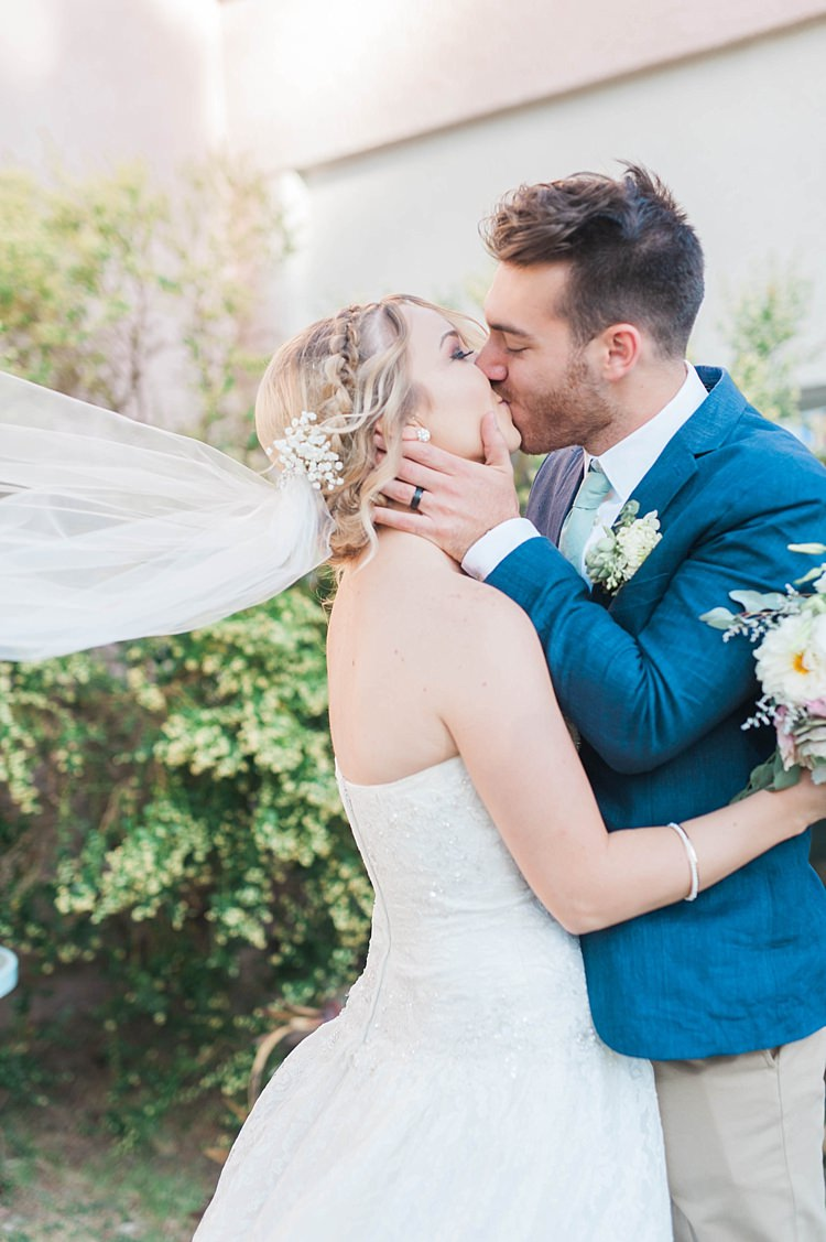 Just Married Bride Lace Sweetheart Strapless Bridal Gown Veil Gypsophila Groom Navy Jacket Beige Pants Light Green Tie Soft Blush Sage Green Wedding California http://julia-rosephotography.com/