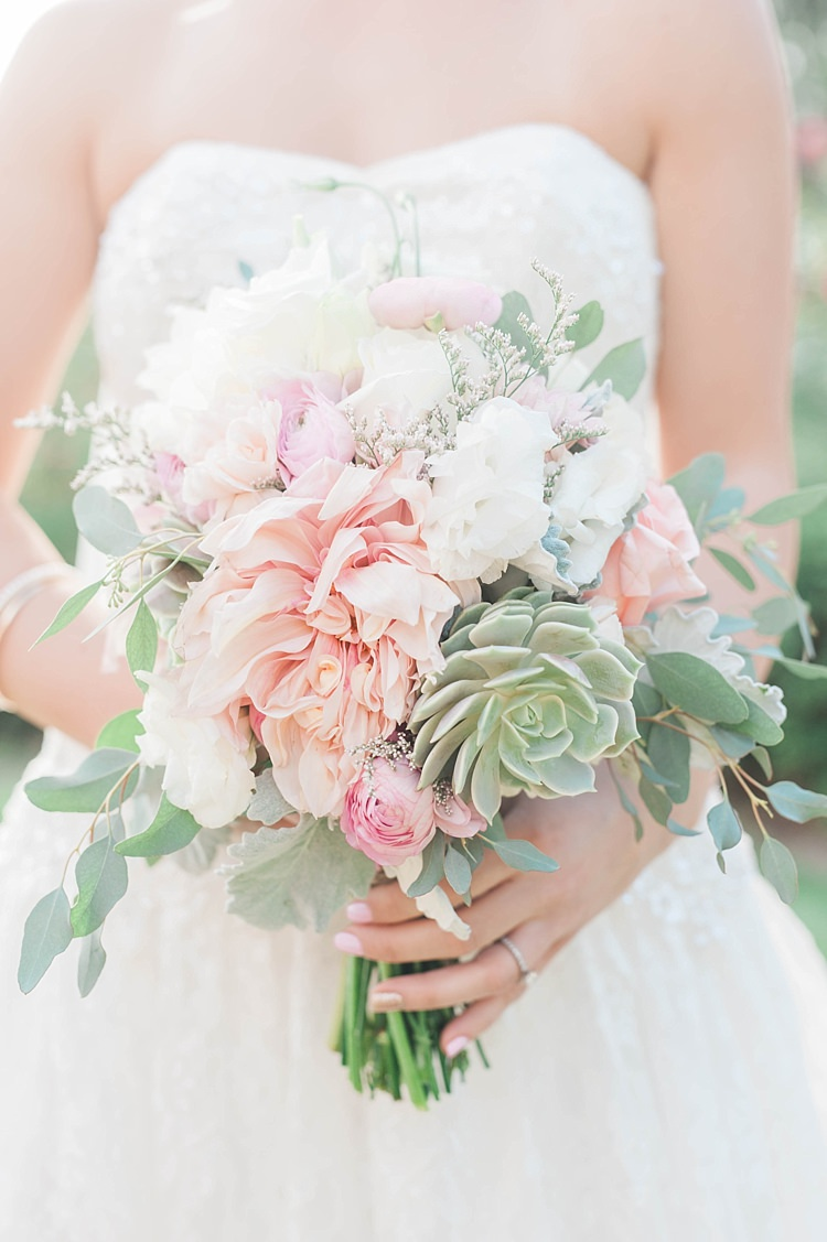 Bride Lace Sweetheart Strapless Bridal Gown Bouquet Pink Green White Dahlia Peony Succulent Florals Soft Blush Sage Green Wedding California http://julia-rosephotography.com/