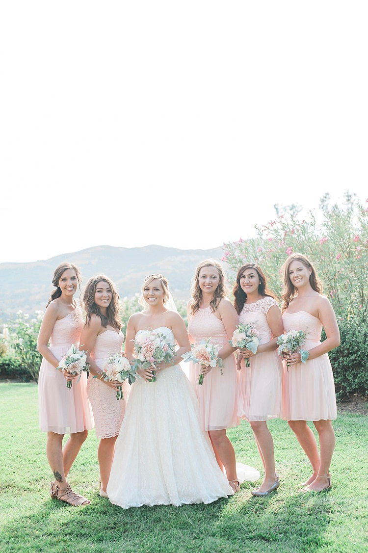 Bride Lace Sweetheart Strapless Bridal Gown Veil Bouquet White Pink Green Dahlia Peony Succulent Florals Bridesmaids Blush Multi Style Dresses Bouquets Soft Blush Sage Green Wedding California http://julia-rosephotography.com/