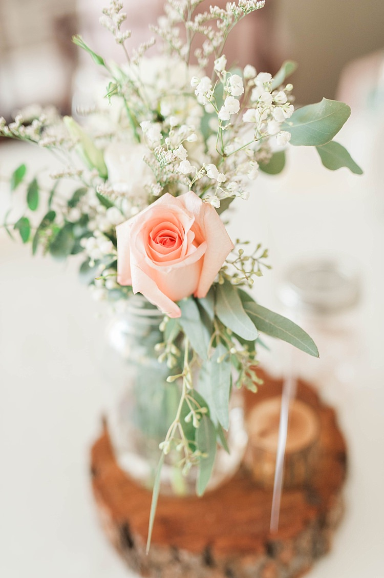 Reception Table Centrepiece Glass Vase Blush Rose Gypsophila Greenery Tree Slice Soft Blush Sage Green Wedding California http://julia-rosephotography.com/