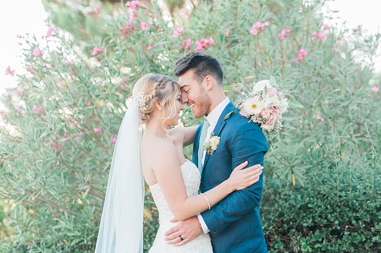Bride Lace Sweetheart Strapless Bridal Gown Veil Gypsophila Bouquet White Pink Green Dahlia Peony Succulents Groom Navy Jacket Light Green Tie Beige Pants Soft Blush Sage Green Wedding California http://julia-rosephotography.com/