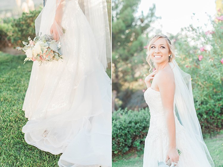 Bride Lace Sweetheart Strapless Bridal Gown Veil Bouquet White Pink Green Dahlia Peony Succulent Florals Soft Blush Sage Green Wedding California http://julia-rosephotography.com/
