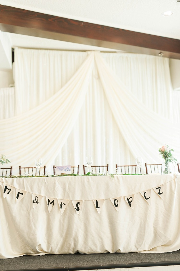 Reception Bridal Table Setting Handwritten Bunting Hanging White Fabric Fresh Florals Glass Vases Soft Blush Sage Green Wedding California http://julia-rosephotography.com/