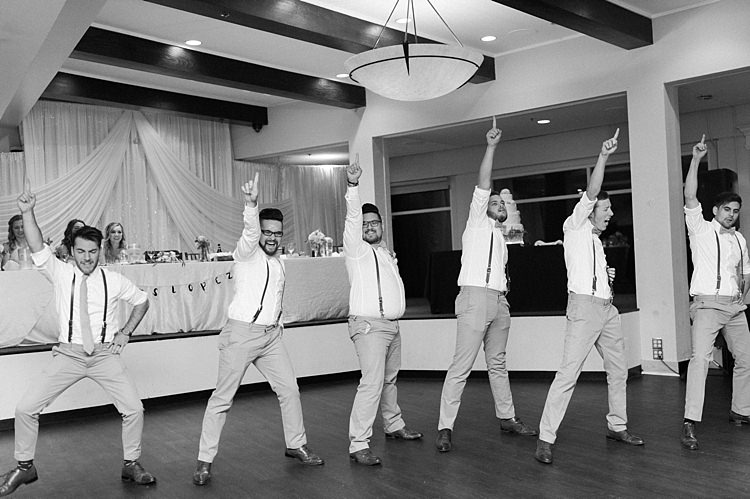 Reception Dancing Groom Groomsmen White Shirts Leather Suspenders Green Ties Beige Pants Bridal Table Soft Blush Sage Green Wedding California http://julia-rosephotography.com/