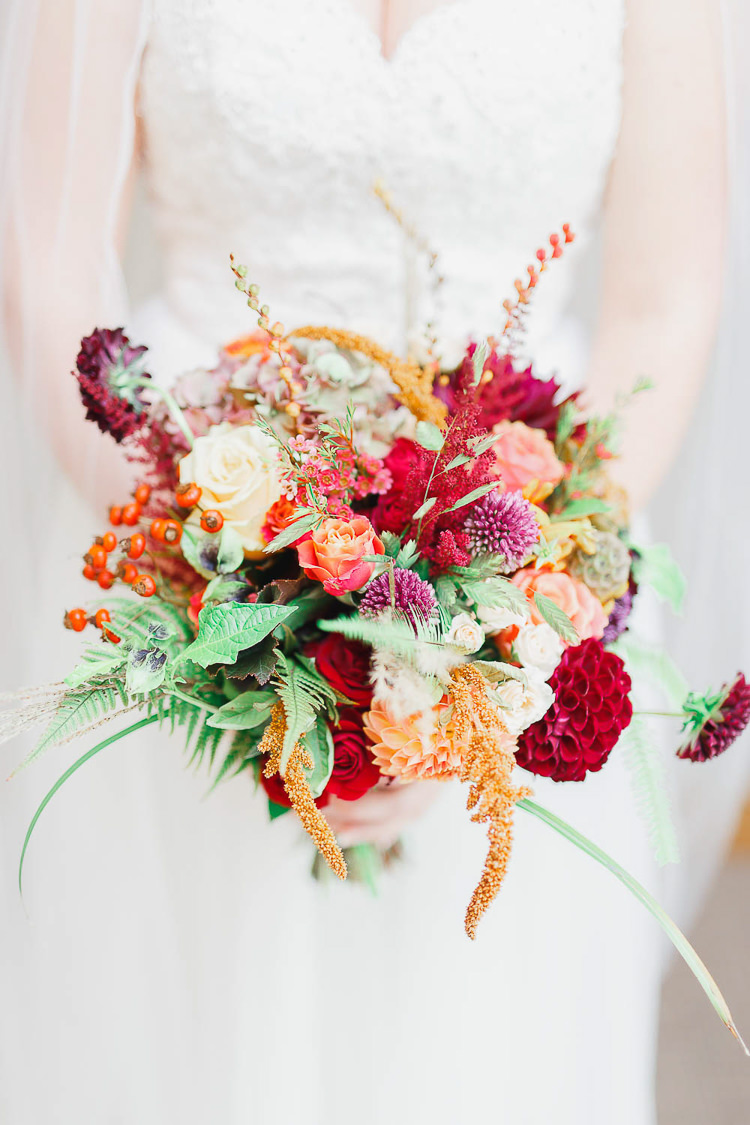Bouquet Flowers Red Orange Dahlia Rose Bride Bridal Berry Magical Fairy Lit Autumn Barn Wedding http://whitestagweddings.com/