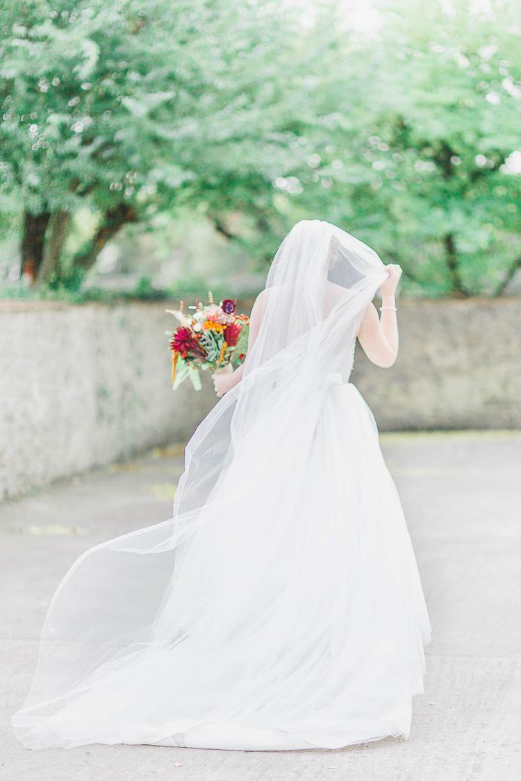 Veil Bride Bridal Cathedral Magical Fairy Lit Autumn Barn Wedding http://whitestagweddings.com/