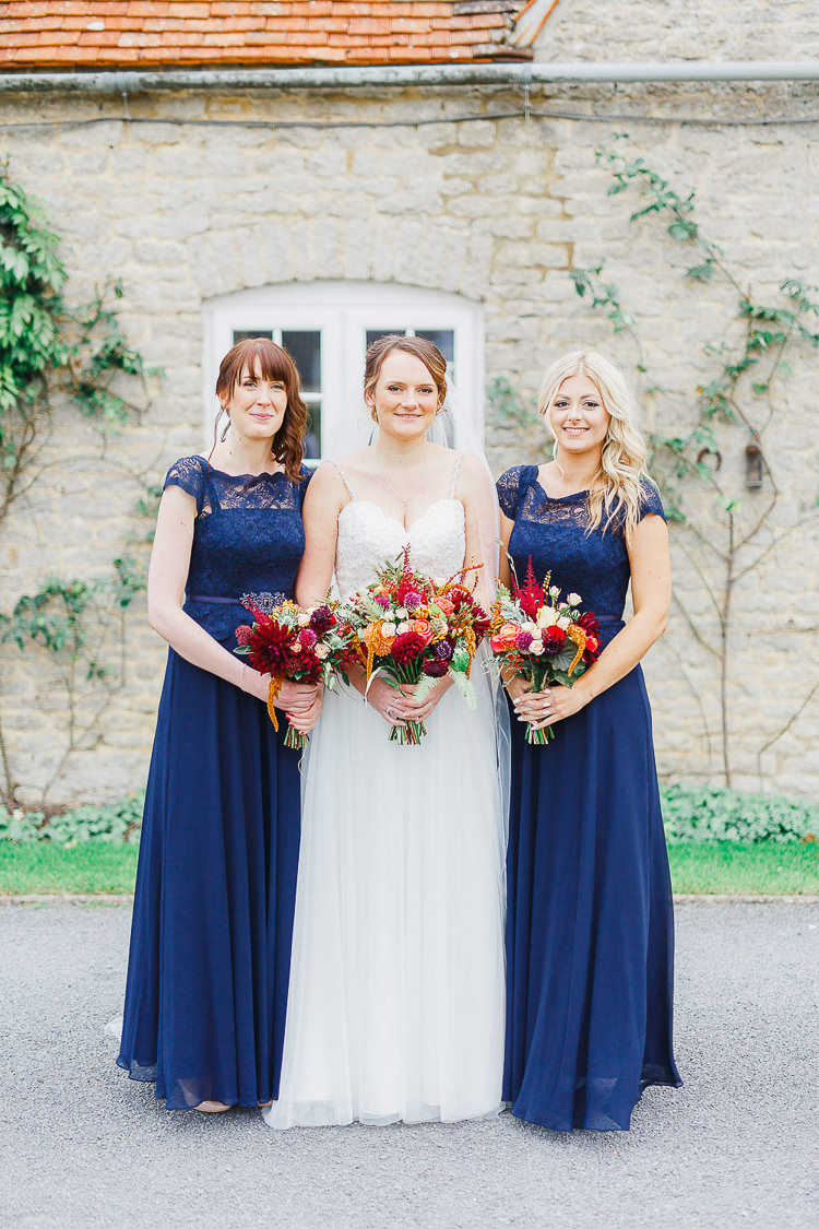 Long Navy Lace Bridesmaid Dresses Magical Fairy Lit Autumn Barn Wedding http://whitestagweddings.com/