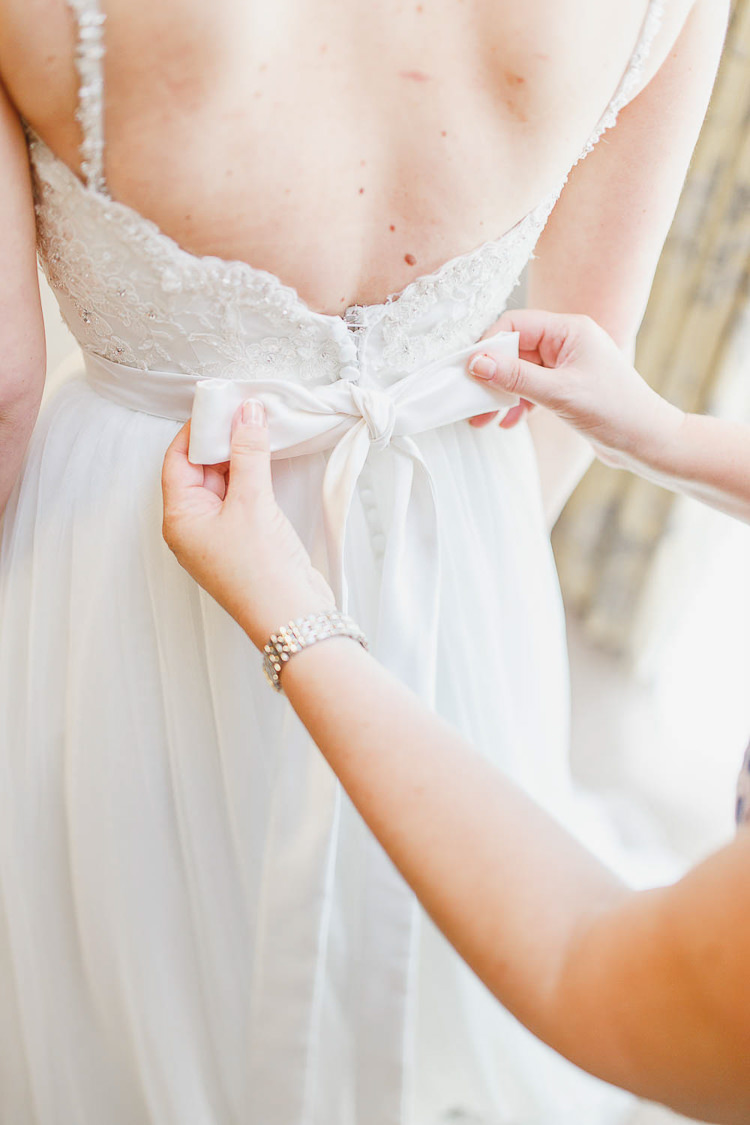 Bow Back Tulle Dress Gown Bride Bridal Magical Fairy Lit Autumn Barn Wedding http://whitestagweddings.com/
