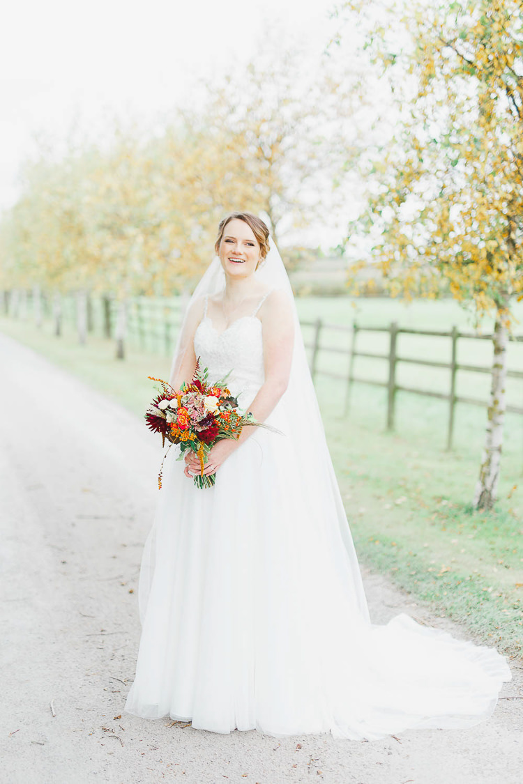 Tulle Straps Dress Gown Veil Bride Bridal Magical Fairy Lit Autumn Barn Wedding http://whitestagweddings.com/