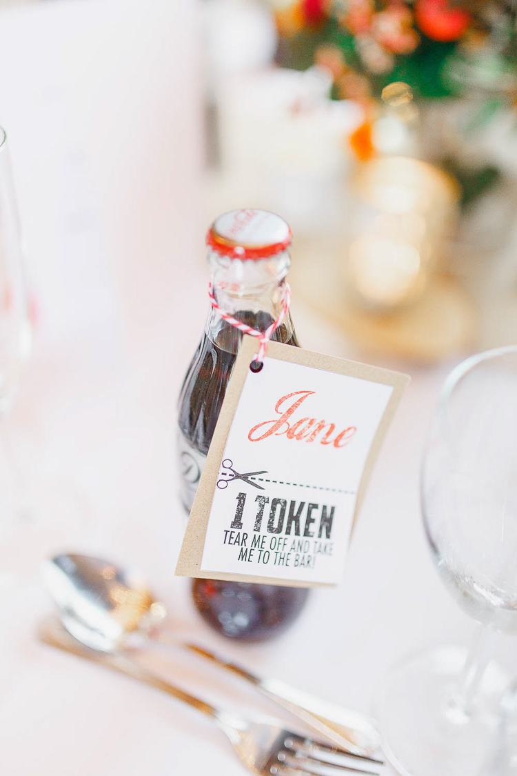 Coca Cola Coke Favours Place Name Token Drink Magical Fairy Lit Autumn Barn Wedding http://whitestagweddings.com/
