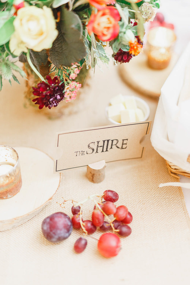 Film Loaction Table Names Kraft Brown Paper Log Magical Fairy Lit Autumn Barn Wedding http://whitestagweddings.com/
