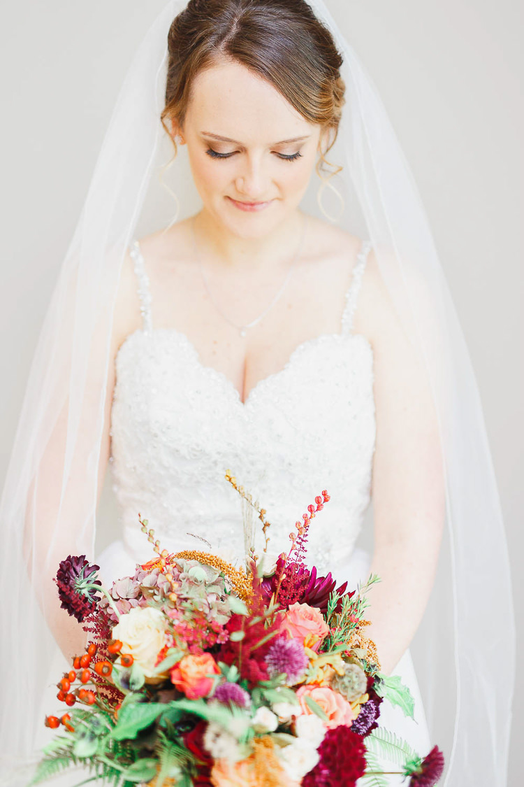 Bride Make Up Natural Pretty Veil Magical Fairy Lit Autumn Barn Wedding http://whitestagweddings.com/
