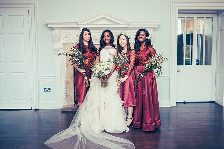 Red Bridesmaid Dresses Fun Stylish City Hall Wedding http://www.terryliphotography.co.uk/