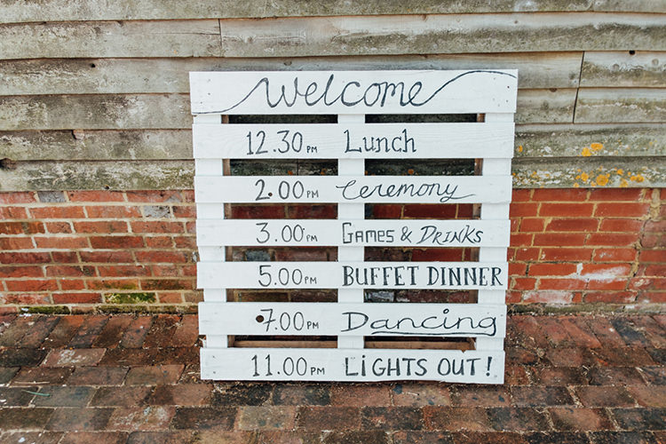 Pallet Sign White Calligraphy Fun DIY Barn Farm Summer Wedding http://www.annapumerphotography.com/