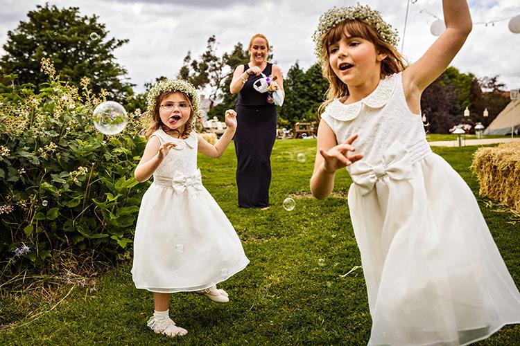 Flower Girls White Dresses Outdoorsy Garden Rustic Tipi Wedding http://alexabbottphotography.co.uk/